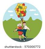 funny cartoon senior couple... | Shutterstock .eps vector #570300772