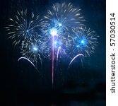 Blue Fireworks On The Black Sky ...