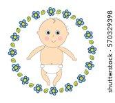 newborn in diapers. little baby ... | Shutterstock .eps vector #570329398