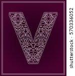 stylized letter v. paper... | Shutterstock .eps vector #570336052