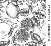 Decorative seamless pattern with ink hand-drawn lemons, leaves and flowers. Vector illustration.