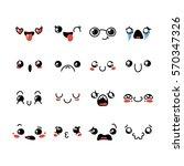 set of cute lovely kawaii... | Shutterstock .eps vector #570347326