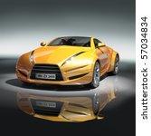 Yellow Sports Car. Original Ca...