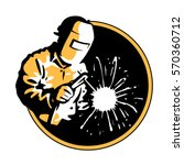 logo welder yellow silhouette   ... | Shutterstock .eps vector #570360712