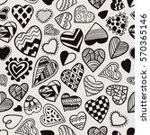 heart doodles seamless vector... | Shutterstock .eps vector #570365146