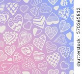 heart doodles seamless vector... | Shutterstock .eps vector #570365812