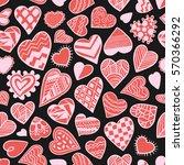 heart doodles seamless vector... | Shutterstock .eps vector #570366292