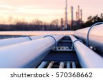 steel long pipes in crude oil... | Shutterstock . vector #570368662