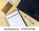 a blank book with text online... | Shutterstock . vector #570370738