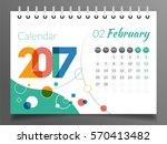february 2017   calendar 2017 | Shutterstock .eps vector #570413482