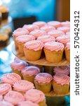 pink wedding reception cupcakes ... | Shutterstock . vector #570424312