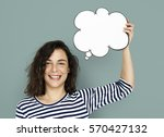 woman hold blank speech bubble... | Shutterstock . vector #570427132