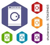 washing machine icons set... | Shutterstock .eps vector #570439405