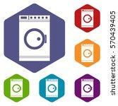 washing machine icons set...   Shutterstock .eps vector #570439405