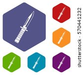military knife icons set... | Shutterstock .eps vector #570441232