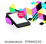 mobile phone icon with trendy... | Shutterstock .eps vector #570442132