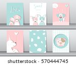 set of cute animals poster... | Shutterstock .eps vector #570444745