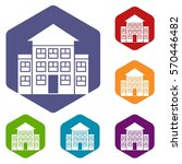 bank building icons set rhombus ... | Shutterstock .eps vector #570446482