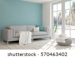 white room with sofa and winter ... | Shutterstock . vector #570463402