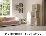 white room with sofa and green... | Shutterstock . vector #570463492