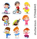 group of children set | Shutterstock .eps vector #570468445