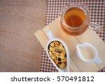 a cup of tea  cereals of... | Shutterstock . vector #570491812