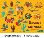 collection of desert animals... | Shutterstock .eps vector #570492502
