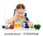 happy little girl with flasks... | Shutterstock . vector #570509368