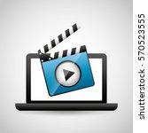 mobile media player icons... | Shutterstock .eps vector #570523555