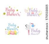baby shower badge vector set....   Shutterstock .eps vector #570533005