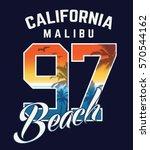 sunset beach typography  t... | Shutterstock .eps vector #570544162