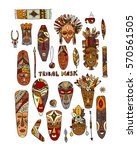 tribal mask ethnic set  sketch... | Shutterstock .eps vector #570561505