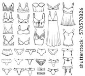 hand drawn sketch lingerie set. ... | Shutterstock .eps vector #570570826