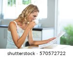 beautiful woman reading... | Shutterstock . vector #570572722