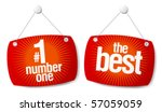 The leader of sales best products signs set - stock vector