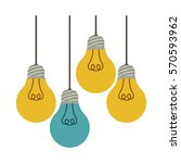 colorful hanging bulbs with... | Shutterstock .eps vector #570593962