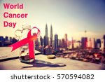 world cancer day concept   pink ...   Shutterstock . vector #570594082