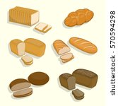 set of bakery products on a... | Shutterstock .eps vector #570594298