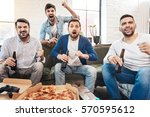 delighted handsome men being... | Shutterstock . vector #570595612