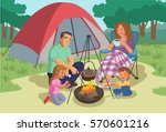 happy family camping  vector | Shutterstock .eps vector #570601216