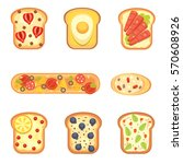 set toasts and sandwich... | Shutterstock .eps vector #570608926