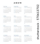 calendar for 2019 year. week... | Shutterstock .eps vector #570613702
