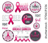 set of breast cancer awareness... | Shutterstock .eps vector #570619156