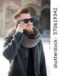 man standing in city during... | Shutterstock . vector #570619342