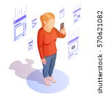 Isometric Woman Browse News...