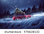 car with a christmas tree on... | Shutterstock . vector #570628132