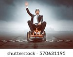 happy businessman on a pedal car | Shutterstock . vector #570631195