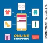 online shopping illustration  | Shutterstock .eps vector #570638176