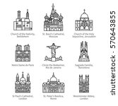 famous christian churches  ... | Shutterstock .eps vector #570643855