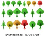 collection of tree icons in... | Shutterstock .eps vector #57064705